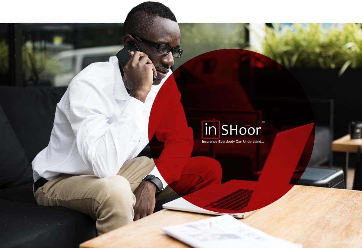 InShoor Insurance Banner - Business Man Making Calls
